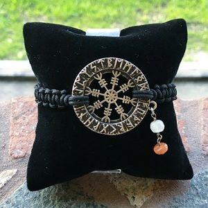 Viking compass (vegvisir) runes moonstone bracelet